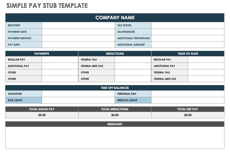 Quickbooks pay stub template |
