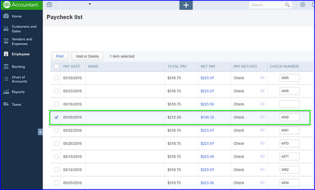void payroll checks In QuickBooks