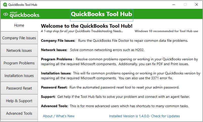 QuickBooks Tool Hub Componenets: home