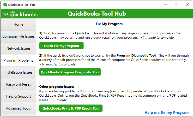 QuickBooks Tool Hub Componenets: Program problems