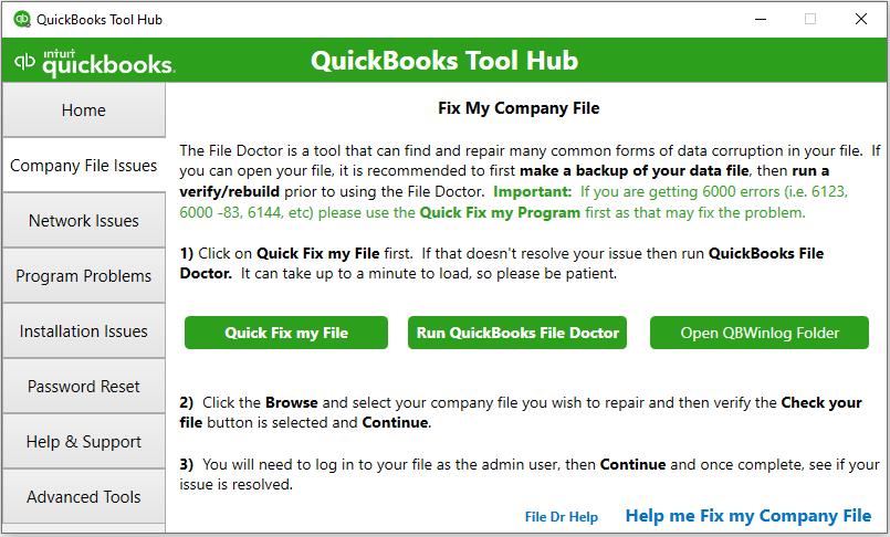 QuickBooks Tool Hub Componenets: company files issues