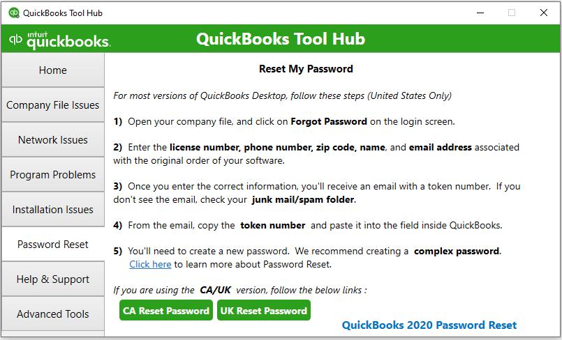 QuickBooks Tool Hub Componenets: Password reset