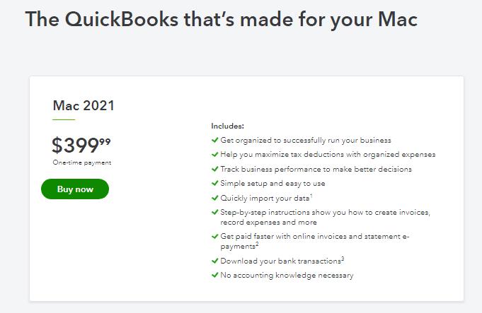 QuickBooks For Mac Pricing