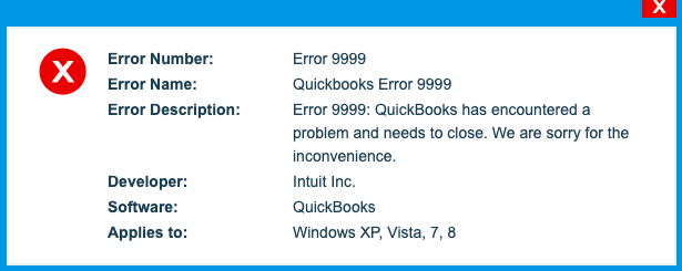 QuickBooks Error 9999