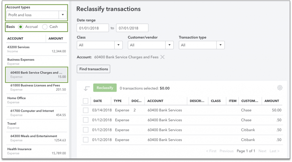How to reclassify transactions in QuickBooks