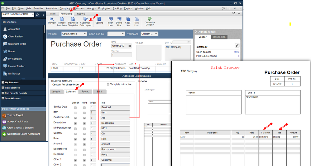 How to create a purchase order in QuickBooks
