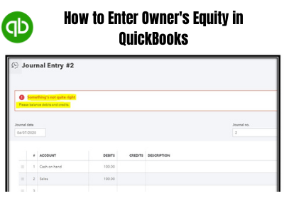 How to Enter Owner's Equity in QuickBooks