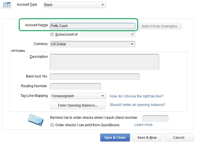 How to setup petty cash in QuickBooks