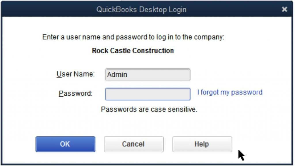 Reset your password for QuickBooks Desktop
