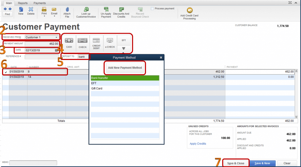 EFT payment in QuickBooks Desktop