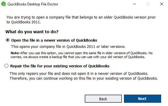 What kind of issues does the QuickBooks desktop file doctor resolve