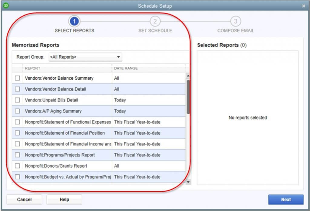 QuickBooks automated reports