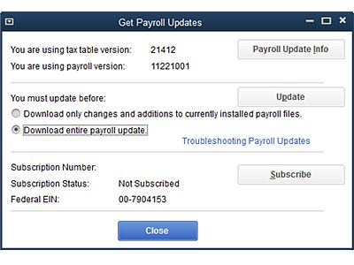 Latest QuickBooks Payroll Update